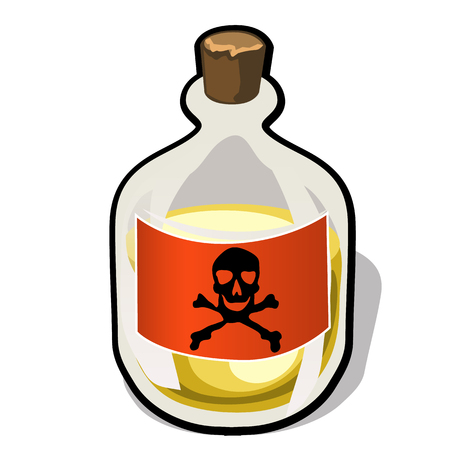yellow lab: Bottle with label crossbones and yellow substance. Image of a dangerous poison