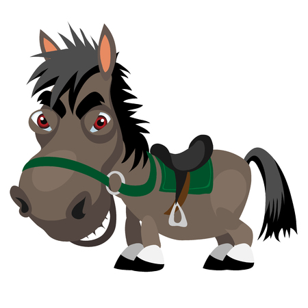 red eyes: Dark stallion with red eyes, cartoon funny character. Vector animal