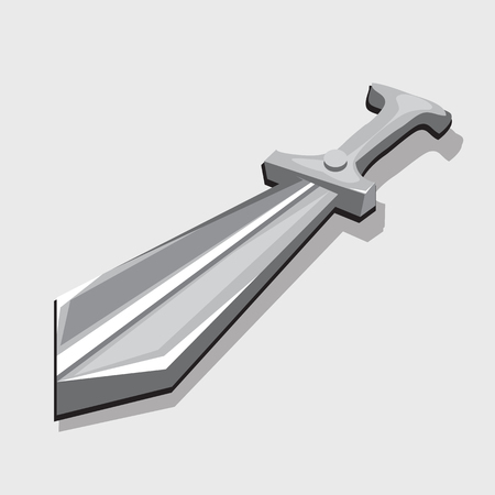 longsword: Silver sword, three-dimensional vector image. Toy style