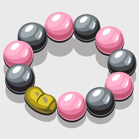 clasp: Bracelet with black and pink pearls and a gold clasp Illustration