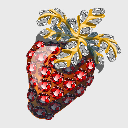 abundance: Red strawberry made of precious stones rubies, vector symbol of abundance and wealth Illustration