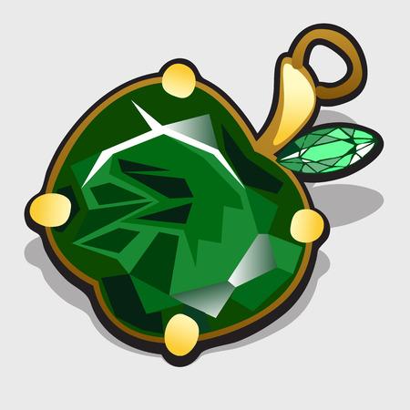 adam and eve: Green apple made of precious stones emerald, vector accessory