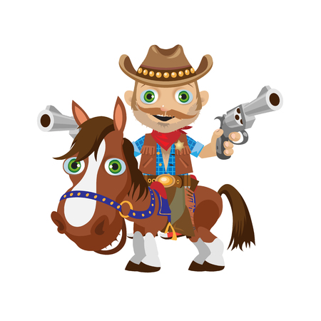 jaunty: Cowboy rider on a stallion, Wild West character. Image on a white background