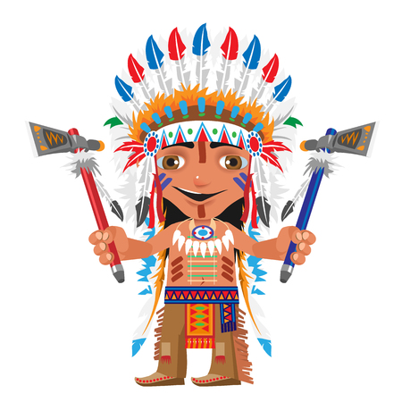 american stories: Cartoon fictional character - Indian with axe on a white background Illustration