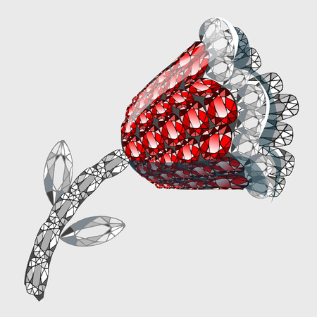 stones with flower: Flower made of precious stones rubies and diamonds, vector icon accessory Illustration