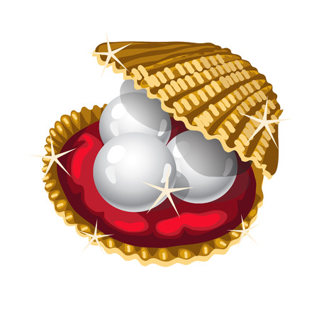 Three white pearls in a Golden casket, vector image Vectores
