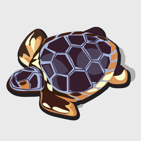 plated: Golden figurine of turtle with blue shell, animal vector image