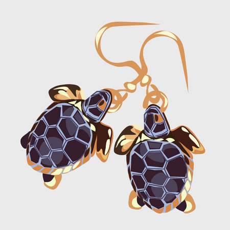 earrings: Gold earrings with turtle, vintage womens accessory Illustration
