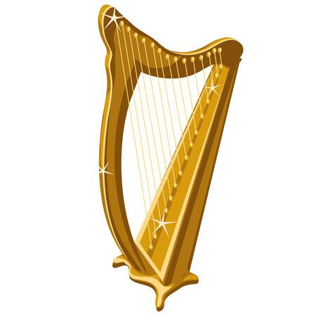 conservatory: Classic gold sparkle harp, cartoon style. Vector harp icon Illustration