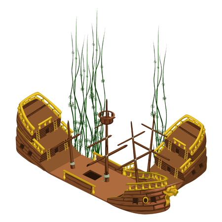 Remains of pirate ship, vector image isolated closeup