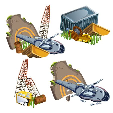 transposition: Helicopter crash, wreckage of equipment and machines