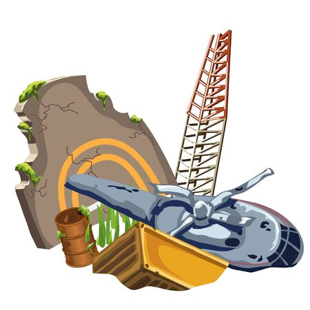 crashed: Rusty crashed the plane and equipment, vector image isolated