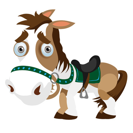 Funny horse closeup in cartoon style. Vector image isolated on white background