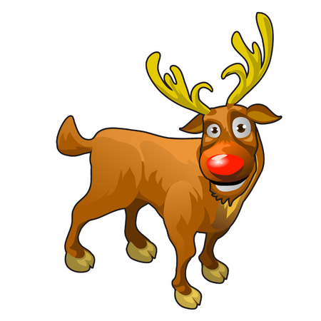 nariz roja: Reno divertido de dibujos animados con la nariz roja y las astas de oro Vectores