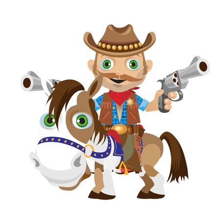 Cowboy rider with guns on a horse, fictional character. Isolated object