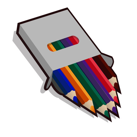 Pencil case with colored pencils for drawing, isolated icon Vectores