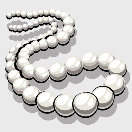 beads: Beads from white pearls, womens elegant jewelry. Vector icon