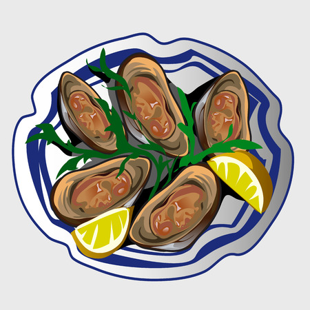 delicacy: Sea delicacy, fresh oysters with lemon and seasoning on a plate Illustration