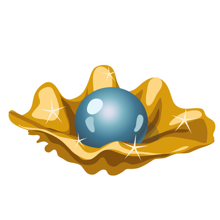 opulence: Single blue pearls in a Golden shell, vector isolated image