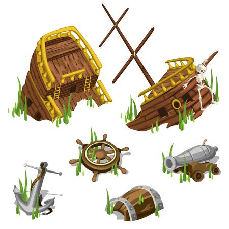 Fragmenten en delen van een piratenschip, geïsoleerde beeldelementen