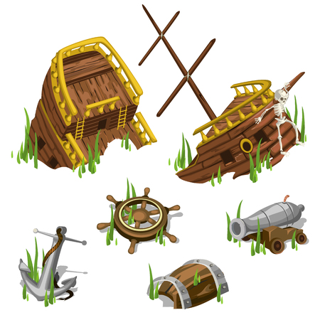Fragments and parts of a pirate ship, isolated image elements Vettoriali