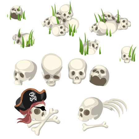 cartoony: Many human skulls and bones and pirate symbols, cartoony style image Illustration