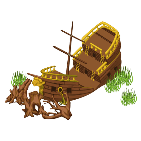 174 Broken Ship Stock Vector Illustration And Royalty Free Broken ...