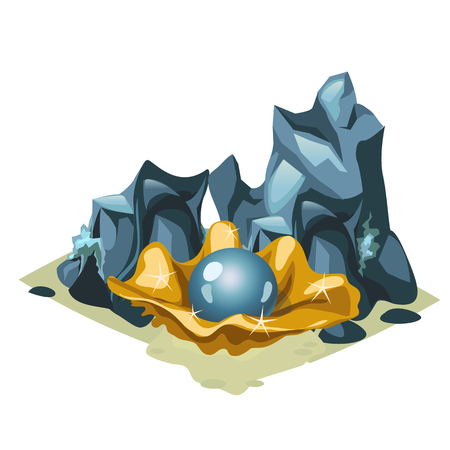 cockle: Blue pearl in Golden shell among the rocks, cartoon style