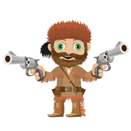 Cartoon character of Wild West - cool merry huntsman Vetores