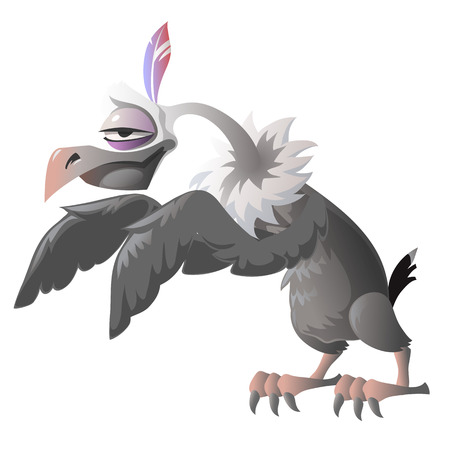 carrion: Cartoon vulture on a white background. The series for the animation and other design needs