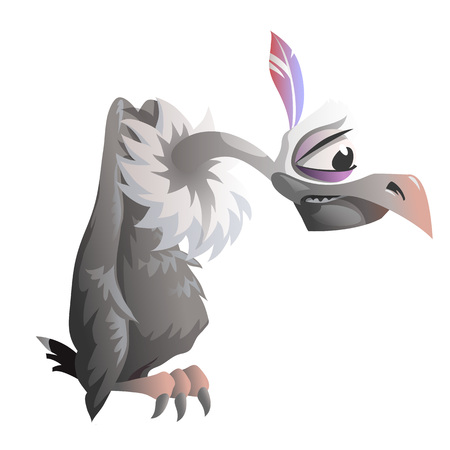 carrion: Cartoon vulture on a white background. Vector illustration