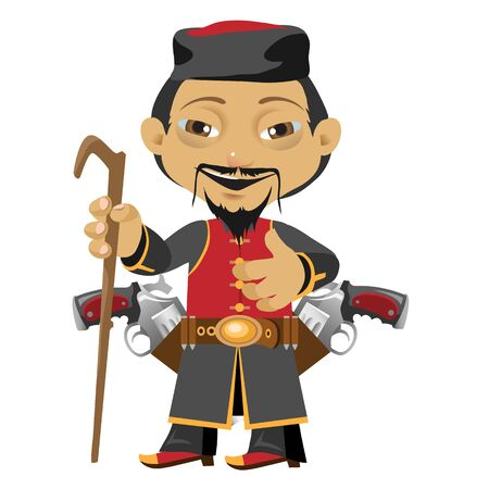 wanderer: Chinese pilgrim, fictional cartoon character isolated Illustration