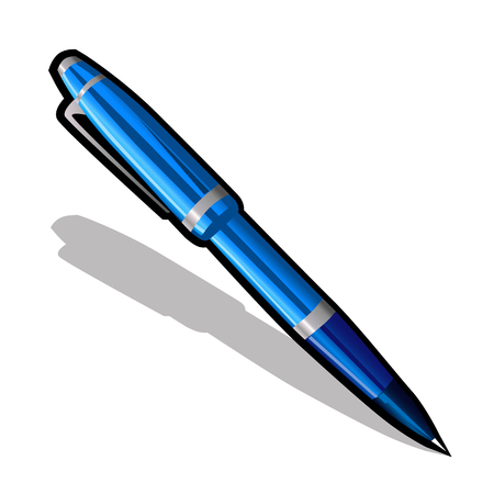 ballpoint: Blue ballpoint pen on a white background, isolated vector icon