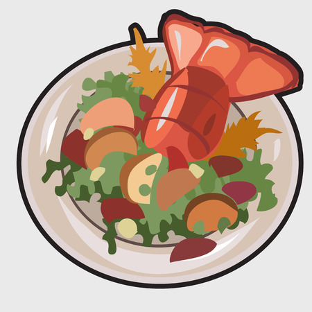 boiled: Boiled lobster on a plate with garnish. Vector illustration Illustration
