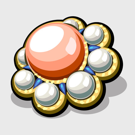 bijou: Brooch with white and pink pearls in vintage style. Image of womens accessory closeup Illustration