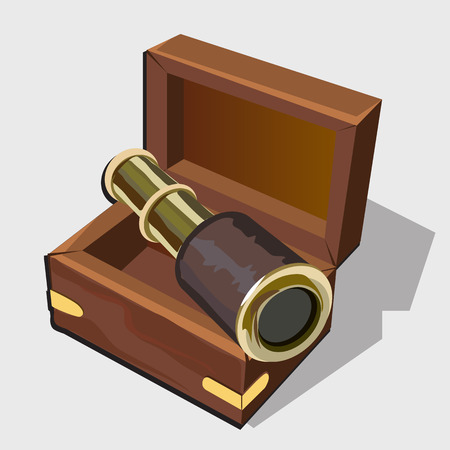 brown box: Vintage telescope in a brown box, vector image