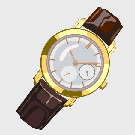 gold watch: Classic mens watch with brown strap and gold dial, single vector image