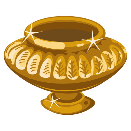 earthenware: Ancient Golden vase in the Greek style. Isolated vector object Illustration