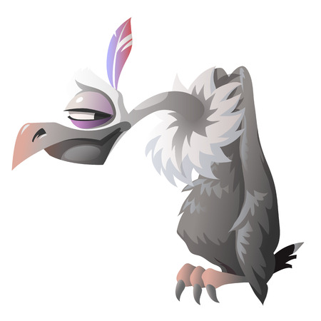 carrion: Cartoon cute vulture isolated. Series characters for the animation and other design needs