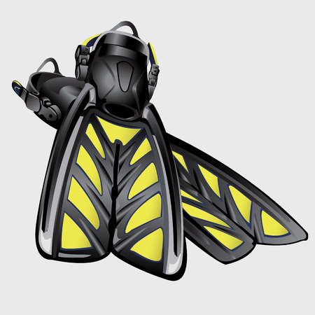 fins: Realistic drawing fins. The element of diving suit. Vector illustration