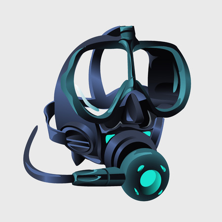 respirator: Realistic modern respirator without a man. The element of the protective suit