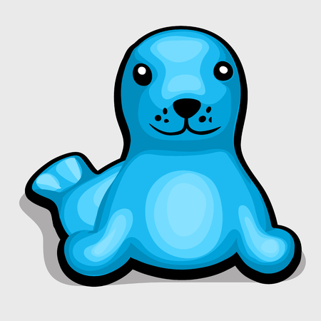 captivity: Cute blue seal. Childrens soft toy. Vector illustration