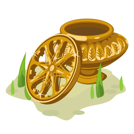 potter: Ancient gold vase and wheel. Two vector object in cartoon style Illustration