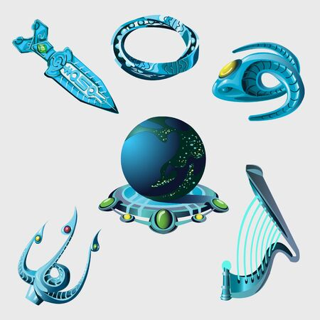 teleportation: Globe, weapon and cartoon game elements from sci-Fi series Illustration