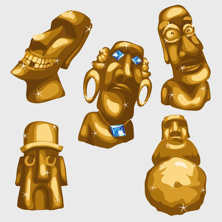 sculptures: Maya sculptures from gold with sapphires. Stylized cartoon of a deity