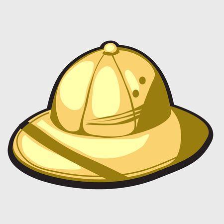 hatband: Yellow hat of african hunter. Single vector item