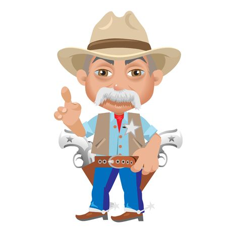 american stories: Wise Sheriff, cartoon character in Wild West, man isolated Illustration