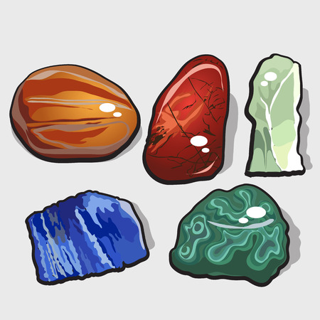 sedimentary: Set of five cartoon vector stones and minerals for your design needs