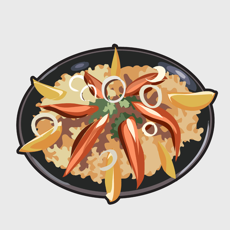 onion slice: Delicious food image. Vector icon for your design needs