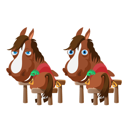 stable: Two horses in the stable stand back and turn around. Vector animals Illustration